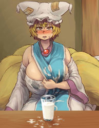 1girl adapted_costume bangs blonde_hair breasts brown_eyes chanta_(ayatakaoisii) cleavage cup detached_sleeves dress drinking_glass fox_tail hat huge_breasts indoors lactation looking_at_viewer milk multiple_tails open_mouth pillow_hat room seiza short_hair sitting socks solo stained_clothes strapless_dress sweatdrop tabard table tail thick_thighs thighs touhou white_dress white_legwear wide_sleeves yakumo_ran