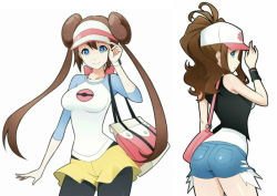 ass bare_shoulders baseball_cap blue_eyes breasts brown_hair collarbone crimeglass denim denim_shorts hat large_breasts mei_(pokemon) pantyhose pokemon pokemon_(game) pokemon_bw pokemon_bw2 ponytail shorts tagme touko_(pokemon) vest wristband