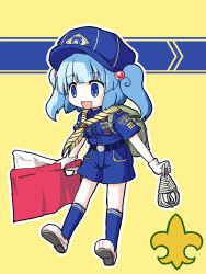 1girl alternate_costume aratami_isse backpack bag belt blue_eyes blue_hair hair_bobbles hair_ornament hat kawashiro_nitori open_mouth rope scout short_hair shorts smile solo touhou twintails uniform