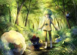 1boy barefoot bush chains cottonee dappled_sunlight eevee emolga forest grass green_eyes green_hair highres in_tree light_rays looking_at_viewer mio_(mio84214) mio_(pixiv6572033) n_(pokemon) nature outdoors path petilil plant pokemon pokemon_(creature) road smile sunbeam sunlight tree walking watermark whimsicott zorua