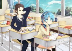 1boy 1girl absurdres aiqing artist_name black_legwear blue_eyes blue_hair book brown_eyes brown_hair chair classroom collarbone desk eraser eyebrows_visible_through_hair hair_ornament highres holding holding_book kneehighs long_sleeves looking_away natsuki_subaru open_book pencil_case re:zero_kara_hajimeru_isekai_seikatsu rem_(re:zero) short_hair signature sitting x_hair_ornament