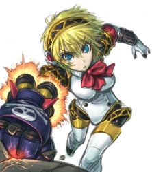 1girl aegis_(persona) amania_orz android blonde_hair blue_eyes headphones persona persona_3 punching robot_joints rocket_punch solo