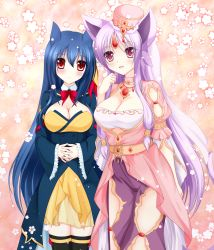 2girls absurdres animal_ears arm_at_side black_legwear blue_hair blush borrowed_character breasts clenched_hand espeon forehead_jewel gem hands_together hat highres jewelry large_breasts long_hair looking_at_viewer multiple_girls naiki_karin necklace personification pokemon purple_eyes purple_hair red_eyes standing typhlosion