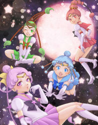 amazons_quartet bishoujo_senshi_sailor_moon black_hair blue_hair boots braid brown_hair cerecere_(sailor_moon) circlet crescent crescent_earrings earrings elbow_gloves esuya full_moon gloves green_hair grin hair_bun hair_ribbon hair_rings high_heel_boots high_heels indian_style jewelry junjun_(sailor_moon) knee_boots miniskirt moon multicolored_hair one_eye_closed open_hands open_mouth pallapalla_(sailor_moon) pink_hair pleated_skirt ribbon rose_earrings sailor_ceres sailor_collar sailor_juno sailor_pallas sailor_vesta sitting skirt sky smile star star_(sky) starry_sky two-tone_hair vesves_(sailor_moon) white_boots white_gloves