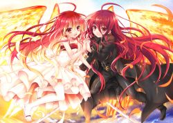 2girls bare_shoulders bodysuit coat dress dual_persona fiery_wings gloves long_hair multiple_girls red_eyes red_hair shakugan_no_shana shana tachitsu_teto thighhighs trench_coat wings