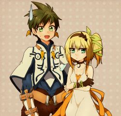 1boy 1girl :d annoyed aqua_eyes blonde_hair brown_hair capelet choker crossed_arms earrings edna_(tales) feathers green_eyes hair_ribbon hairband height_difference jewelry nmbit open_mouth pants pink_background polka_dot polka_dot_background ribbon short_hair side_ponytail single_glove skirt smile sorey_(tales) spiked_hair sweatdrop tales_of_(series) tales_of_zestiria tress_ribbon white_skirt