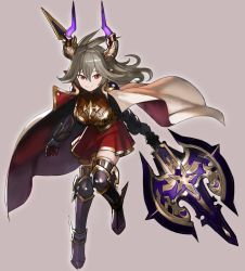 1girl armor boobplate breasts cape commentary fingerless_gloves gloves granblue_fantasy grey_background grey_hair highres holding holding_weapon horns huge_weapon jumping large_breasts looking_at_viewer medium_hair metal_boots poleaxe red_cape red_eyes red_skirt sarasa_(granblue_fantasy) simple_background skirt smile solo wasabi60 weapon white_cape