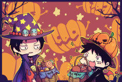 2boys black_hair brothers bucket candy halloween male mino monkey_d_luffy multiple_boys one_piece portgas_d_ace siblings witch_hat