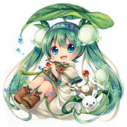1girl :3 :d ahoge blue_eyes blush boots bunny capelet chibi flower full_body green_hair hair_flower hair_ornament hairband hatsune_miku holding kagami_leo leaf long_hair no_nose open_mouth smile snowdrop_(flower) snowflakes twintails very_long_hair vocaloid white_background yuki_miku