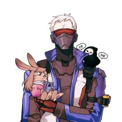 1boy animal animal_on_shoulder animalization artist_name bird bird_on_shoulder black_bodysuit bodysuit brown_eyes brown_hair bunny cellphone commentary commentary_request crow d.va_(overwatch) english face_mask facepaint facial_mark gloves holding holding_cellphone holding_phone jacket long_sleeves mask open_clothes open_jacket overwatch panza phone reaper_(overwatch) red_gloves ribbed_bodysuit scar short_hair simple_background skull_mask smartphone soldier:_76_(overwatch) visor whisker_markings white_background white_hair