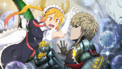1boy 1girl attack bangs black_sclera blonde_hair breasts bubble cloth crossover cyborg dragon_girl dragon_horns dragon_tail draw-till-death earrings elbow_gloves electricity fangs fork genos gloves gradient_eyes hair_between_eyes highres horns jewelry kobayashi-san_chi_no_maidragon long_hair maid_headdress multicolored multicolored_eyes necktie one-punch_man photoshop plate profile puffy_short_sleeves puffy_sleeves red_eyes scales short_hair short_sleeves slit_pupils sparkle sponge tail tooru_(maidragon) twintails yellow_eyes