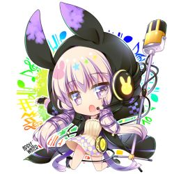 1girl animal_ears argyle bangs between_thighs black_gloves boots bunny cable chestnut_mouth chibi dress eyebrows eyebrows_visible_through_hair fingerless_gloves full_body gloves glowing hair_ornament hair_over_shoulder hair_ribbon hana_(apple_water) headphones headset high_heel_boots high_heels hooded_jacket knee_boots kneeling legs_apart long_hair looking_at_viewer microphone microphone_stand musical_note open_mouth outstretched_arms purple_eyes purple_hair ribbed_dress ribbon smile solo spread_arms symbol-shaped_pupils treble_clef twintails upskirt vocaloid voiceroid yuzuki_yukari yuzuki_yukari_(lin)