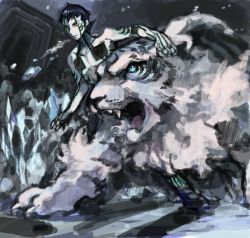 1boy hitoshura open_mouth shin_megami_tensei shin_megami_tensei_iii:_nocturne tattoo tetu tiger topless yellow_eyes