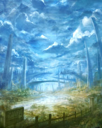 blurry bou_nin bridge building city cloud cloudy_sky fantasy fence grass highres horizon no_humans original path road ruins scenery sign sky stairway