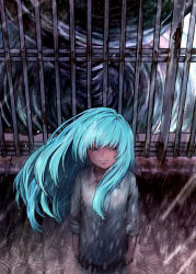 1girl arms_at_sides black_skirt blue_eyes blue_hair collared_shirt fence from_above highres light_smile looking_at_viewer original pleated_skirt rain ripples rooftop shirt skirt solo standing tooi_(sugarcoating) tornado wet wet_hair white_shirt wind wing_collar