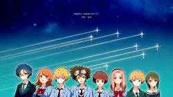 3girls 5boys :d blazer blonde_hair blue_eyes blue_hair brown_eyes brown_hair digimon digimon_adventure digimon_adventure_tri digimon_adventure_tri. erolcy glasses gradient_background hair_ornament hairband hairclip highres ishida_yamato izumi_koushirou kido_jou multiple_boys multiple_girls necktie open_mouth pink_hair red_hair school_uniform smile tachikawa_mimi takaishi_takeru takenouchi_sora upper_body yagami_hikari yagami_taichi