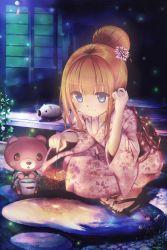 1girl absurdres blue_eyes brown_hair hair_ornament hand_in_hair highres japanese_clothes kimono long_hair original outdoors smile solo squatting yukata