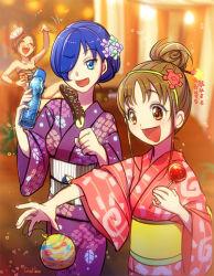 3girls :d amaya_shizuku_(azarashi) balloon blue_eyes blue_hair borrowed_character brown_eyes brown_hair chocolate_banana flower galibo hair_bun hair_flower hair_ornament hair_over_one_eye hairband harumi_hinata_(azarashi) japanese_clothes kaihyou_mizuki_(azarashi) kimono mask multiple_girls open_mouth original precure short_hair smile yukata