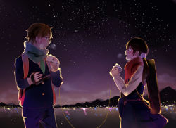 1boy 1girl bag black_hair blue_eyes blush breath brown_eyes brown_hair camera corky eye_contact handbag instrument_case kitashirakawa_tamako lake long_hair long_sleeves looking_at_another low_twintails night night_sky ooji_mochizou open_mouth outdoors pants phone profile scarf school_uniform short_hair skirt sky star_(sky) starry_sky string_phone tamako_love_story tamako_market twintails