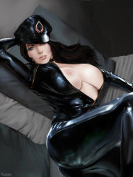 1girl artist_name black_hair blue_eyes bodysuit breasts brown_hair gradient_background hat kaihlan large_breasts latex latex_suit lips long_hair looking_at_viewer mass_effect miranda_lawson nipples no_bra open_clothes parted_lips skin_tight solo unzipped