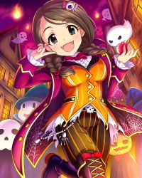 1girl akanishi_erika artist_request belt boots bow braid breasts brown_hair card_(medium) coat fangs ghost green_eyes hair_ornament hairclip halloween halloween_costume hat holding house idolmaster idolmaster_cinderella_girls jack-o'-lantern long_hair looking_at_viewer night official_art pinstripe_pattern pumpkin silk skeleton skull smile solo spider_web vampire witch_hat