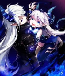 1boy 1girl :d arm_at_side back bangs black_coat blue_dress blue_eyes blue_panties blue_skin cape ciel_(elsword) covered_mouth cross cross_earrings crown demonio_(elsword) diabla_(elsword) dress ear_piercing earrings elsword fang from_above glowing hagha hair_between_eyes high_collar horn horns jewelry long_hair long_sleeves looking_at_viewer luciela_r._sourcream navel open_mouth panties piercing pointy_ears sidelocks signature silver_hair sleeveless sleeveless_dress smile spikes stomach symbol-shaped_pupils tail underwear very_long_hair white_hair