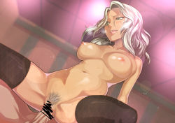 1boy 1girl areolae black_legwear blush breasts censored dark_skin dutch_angle girl_on_top green_eyes hetero indoors large_breasts lens_flare long_hair navel nipples nude open_mouth original pubic_hair rosary_(pixiv) sex spread_legs sweat thighhighs vaginal white_hair