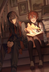 2boys :d alexander_(fate/grand_order) bianyuanqishi black_hair book braid brown_eyes fate/grand_order fate_(series) hair_over_shoulder hands_together highres horse kneehighs long_hair lord_el-melloi_ii magic male_focus multiple_boys necktie open_mouth painting_(object) red_eyes red_hair reflection reflective_floor rider_(fate/zero) shoes single_braid sitting smile stairs waver_velvet wooden_floor