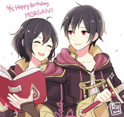 1boy 1girl 2016 ahoge artist_name black_hair book character_name dinikee dual_persona eyes_closed fire_emblem fire_emblem:_kakusei gloves hair_between_eyes happy_birthday height_difference hood hooded_jacket jacket laughing mark_(fire_emblem) open_mouth short_hair smile sword weapon