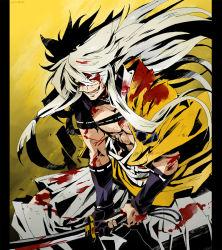 1boy gloves glowing glowing_eyes japanese_clothes kogitsunemaru long_hair narita red_eyes silver_hair smile solo sword torn_clothes touken_ranbu weapon