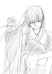 2girls akagi_(kantai_collection) female_admiral_(kantai_collection) highres japanese_clothes kantai_collection long_hair monochrome multiple_girls muneate niwatazumi