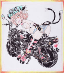 1girl animal_ears ass bare_shoulders boots breasts brown_eyes brown_hair cat_ears cat_tail chen denim denim_shorts earrings erect_nipples hat heart jewelry looking_at_viewer lowleg_shorts motor_vehicle motorcycle multiple_tails okiraku_nikku open_mouth panties shorts side_ponytail sideboob sleeveless sleeveless_shirt smile solo striped striped_panties tail thighhighs touhou traditional_media underwear vehicle white_panties