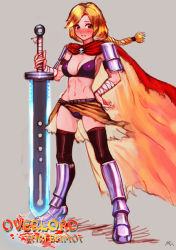 1girl armor bandage bikini blonde_hair blush braid brown_eyes cape darkmuleth english enri_emmot greaves muscle overlord_(maruyama) shoulder_armor single_braid skull solo sword weapon