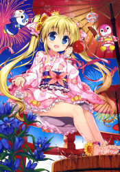 1girl absurdres anklet barefoot blonde_hair blue_eyes blue_flower bow cardfight!!_vanguard crown eyebrows eyebrows_visible_through_hair feet fireworks fujima_takuya hair_between_eyes hair_bow hair_ornament highres japanese_clothes jewelry kimono long_hair mini_crown open_mouth oriental_umbrella pink_bow scan short_kimono short_yukata skirt_hold solo striped striped_bow toes twintails umbrella very_long_hair yukata