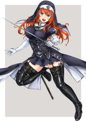 black_eyes boots breasts cross habit high_heel_boots high_heels highres jewelry long_hair necklace nun open_mouth orange_hair original scabbard sheath sword thigh_boots thighhighs tori@gununu weapon zettai_ryouiki
