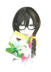 1girl bakemonogatari black_hair braid glasses hair_ornament hairclip hanekawa_tsubasa long_hair monogatari_(series) nekomonogatari skinrar solo