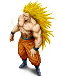 1boy abs blonde_hair blue_eyes boots dragon_ball dragonball_z electricity from_above full_body highres long_hair male_focus muscle no_eyebrows pointy_ears serious shadow shirtless simple_background solo son_gokuu super_saiyan super_saiyan_3 very_long_hair white_background wristband yasu001