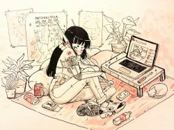 1girl animal bare_shoulders black_hair blush bottle can carpet cat commentary computer crisalys cyborg female flower_pot flying_sweatdrops food handheld_game_console holding indoors interstella_5555 laptop leaf long_hair looking_at_viewer monochrome nose_blush one_eye_closed original pants plant pocky poster_(object) screw screwdriver shirtless shoes sitting sneakers soda_can solo table water_bottle wrench