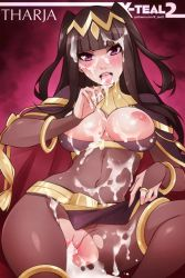 1girl areolae blush breasts breasts_outside brown_hair cum cum_in_pussy cum_on_breasts cum_on_hair cum_on_lower_body cum_on_upper_body facial female fire_emblem fire_emblem:_kakusei inviting large_breasts long_hair looking_at_viewer navel nipples open_mouth pantyhose purple_eyes pussy pussy_juice saliva solo tharja tongue tongue_out torn_clothes torn_pantyhose uncensored x-teal2