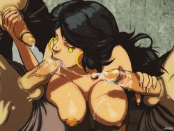 1girl 3boys :>= animated animated_gif black_hair bouncing_breasts breasts cum cum_on_body cum_on_breasts cum_on_upper_body dark_skin deepthroat double_handjob earrings egyptian erect_nipples eyes_closed farah group_sex handjob huge_breasts jewelry kneeling legend_of_queen_opala long_hair long_nails multiple_boys nipples nude open_mouth oral penis precum saliva shiny shiny_skin sweat testicles uncensored washa_(artist) washa_animations