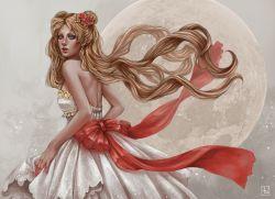 1girl abigail_diaz bare_shoulders beads bishoujo_senshi_sailor_moon blonde_hair blue_eyes double_bun dress earrings flower from_behind full_moon hair_beads hair_flower hair_ornament jewelry looking_back moon open-back_dress princess_serenity ribbon solo strapless strapless_dress tsukino_usagi twintails watermark white_dress