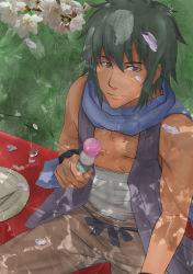 1boy bandage brown_eyes cherry_blossoms dango flower food green_hair heliodor leaf naruto naruto_shippuuden rinji_(naruto) sanshoku_dango sitting solo vest wagashi