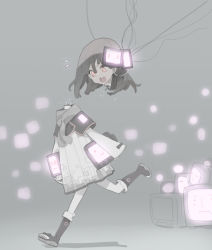 1girl android boots brown_hair cable coat disembodied_head do_re_mi head_removed long_sleeves monitor open_mouth original pink_eyes robot running scarf short_hair solo toeless_boots