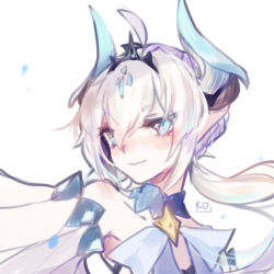 1girl blue_eyes elsword female luciela_r._sourcream noblesse_(elsword) solo white_background white_hair