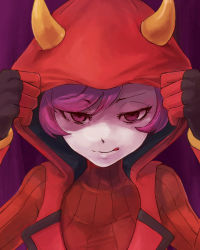 1girl female hood horns kagari_(pokemon) kagari_(pokemon)_(remake) licking_lips nintendo pokemon pokemon_(game) pokemon_oras purple_eyes purple_hair short_hair solo sweater team_magma