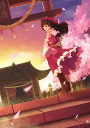 1girl absurdres bird boots breasts brown_eyes brown_hair cherry_blossoms cloud detached_sleeves diandianzai ears forest frilled_skirt frills grass hakurei_reimu hakurei_shrine hand_on_own_arm highres light_smile long_hair midriff nature night night_sky peaceful perspective petals pink_sky red_skirt ribbon-trimmed_sleeves ribbon_trim rope sarashi shimenawa signature skirt sky sleeveless solo stairs stone_lantern sunset torii touhou tree twilight wind