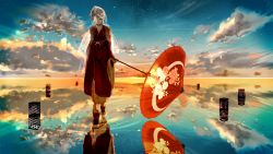 1girl cloud cloudy_sky eyes_closed facing_viewer female highres horizon japanese_clothes kagamine_rin nine_(plantroom9) one_eye_closed oriental_umbrella original quareallel_(vocaloid) reflection sky solo umbrella walking_on_water water