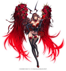 1girl black_gloves breasts brown_hair chaos_heroes_online character_request choker cleavage flower full_body gloves heart highres horns long_gloves long_hair love_cacao navel red_eyes red_flower ribbon standing standing_on_one_leg thighhighs wings