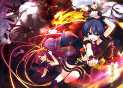 3girls alexandra_alshavin artist_request bare_shoulders black_hair black_skirt blue_eyes breasts brown_eyes capelet cleavage collarbone dual_wielding eleonora_viltaria elizaveta_fomina eyebrows_visible_through_hair heterochromia highres holding holding_sword holding_weapon horse large_breasts long_hair madan_no_ou_to_vanadis midriff monster multiple_girls navel novel_illustration official_art open_mouth riding short_hair silver_hair skirt sword thigh_strap weapon wrist_cuffs yellow_eyes