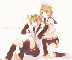 1boy 1girl arm_warmers blonde_hair blue_eyes brother_and_sister flower hair_flower hair_ornament hair_ribbon hairclip head_wreath headset kagamine_len kagamine_rin kaneko_aaru leg_warmers midriff nail_polish necktie one_eye_closed ponytail puffy_short_sleeves puffy_sleeves ribbon sailor_collar short_hair short_sleeves shorts siblings smile treble_clef twins vocaloid yellow_eyes